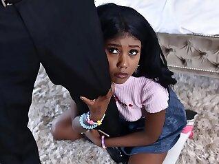 Ebony nanny caught masturbating and fucked hard