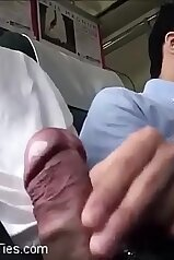 Guys jerking off on a public train