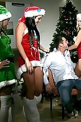 Christmas-themed sex scene with lots of hot fucking