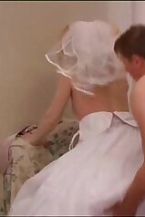 Wedding dress beauty enjoying savage sex here