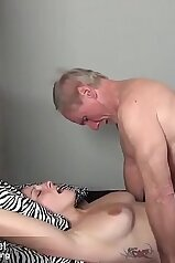Big boobs babe getting banged by an older stud