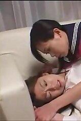 Schoolgirls in slutty uniforms fooling around on cam