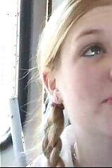Braded schoolgirl getting boned on the bus