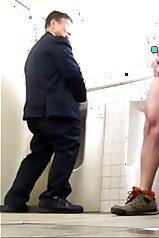 Public porno clip with two masturbating gays