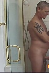 Teen jerking her father\'s cock in the shower