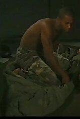 Sexy soldiers indulging in interracial love-making