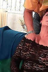 Touching massive melons of a passionate cougar