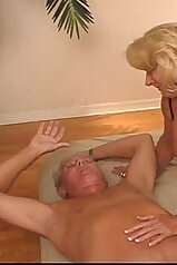 BBW busty blonde fucked by two old men